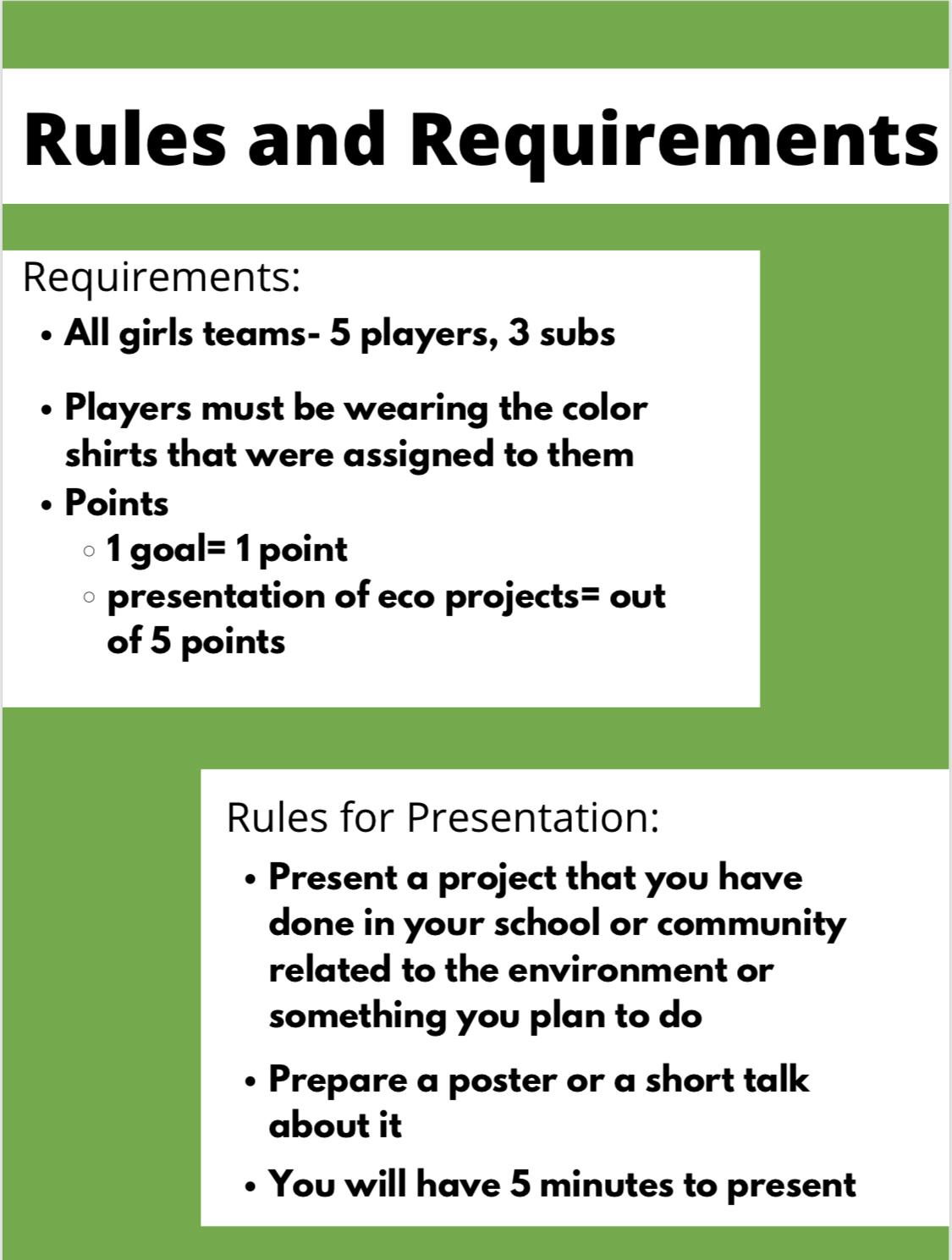 Climate Action Themed Football Tournament For Girls Rules and Requirements
